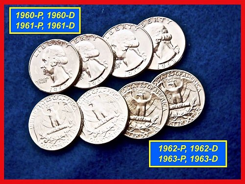 1960 through 1963 Washington SILVER Quarter s • Lot of EIGHT •  (#2267)