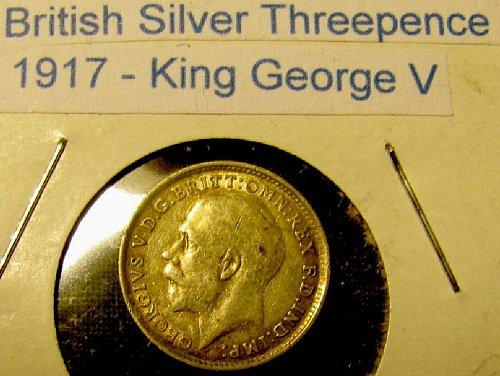 UK-British WW 1 1917 Silver Threepence KIng George V  #311-15% reduced //