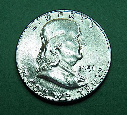 1951 P Franklin Half Dollar Brilliant Uncirculated Coin   g56