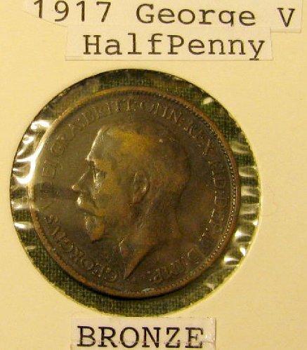 British WW 1 1917 George V Half Penny-Bronze-   Canada S/H only 1.45 //