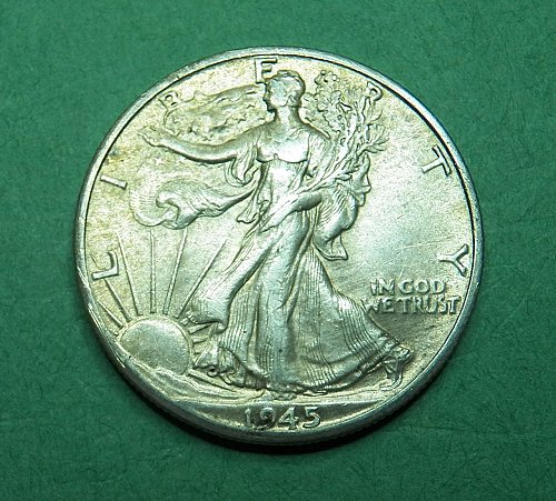 1945 D Walking Liberty Half Dollar Almost Uncirculated Coin   g65