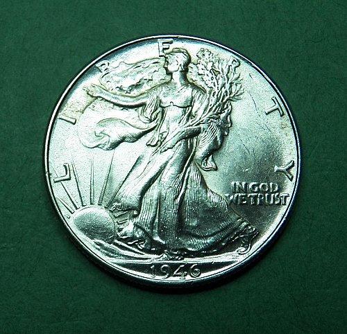 1946 P Walking Liberty Half Dollar AU-BU Coin   g66