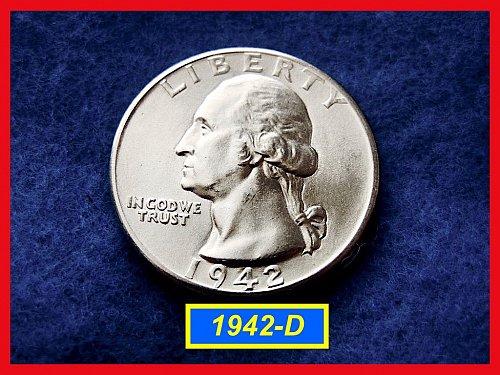 1942-D Washington SILVER Quarter ••UNCIRCULATED  (#2240)