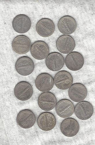 19 Mercury Dimes - all conditions - selling them as bulk coins