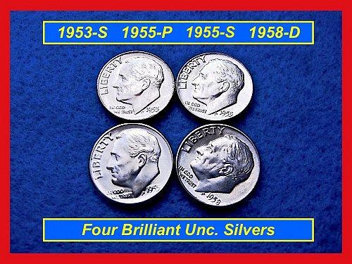 BU Gems 1953-S, 1955-P, 1955-S, & 1958-D  Roosevelt Silver Dimes  •#3227