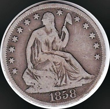 1858 O STEATED LIBERTY HALF DOLLAR 50C(176) VG Details