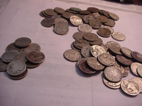 2-rolls less 1 (79) buffalo nickels most no dates some part dates