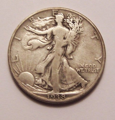 1938-D  WALKING  LIBERTY  HALF  >> F+ <<