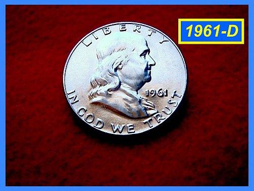 1961-D Franklin Half Dollar – UNCIRCULATED –– Partial Bell Lines  (#1346)