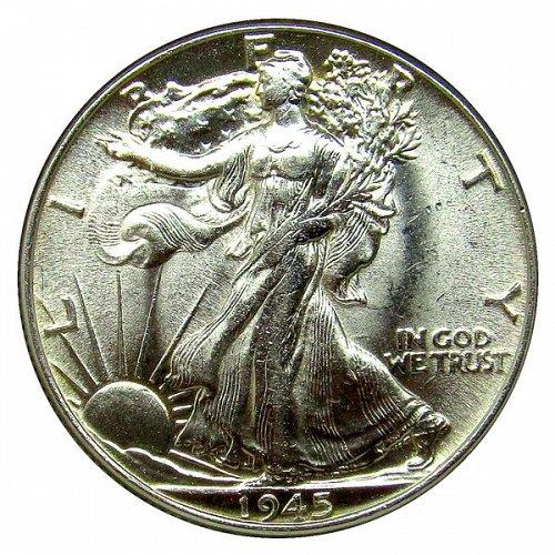 1945 Walking Liberty Half Dollar - Choice BU