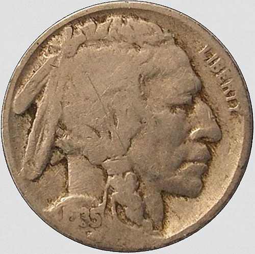 1935 Buffalo Nickel,  Visible Date, (Item 95)