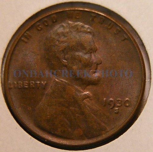 1930-S Lincoln Cent AU