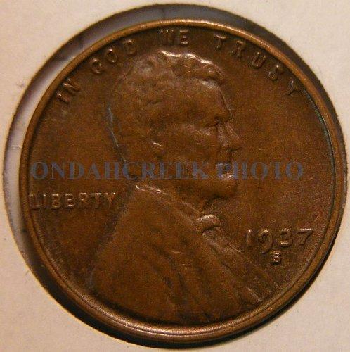 1937-S Lincoln Cent AU