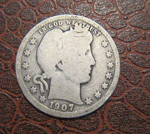 1907-P Barber Quarter Dollar,