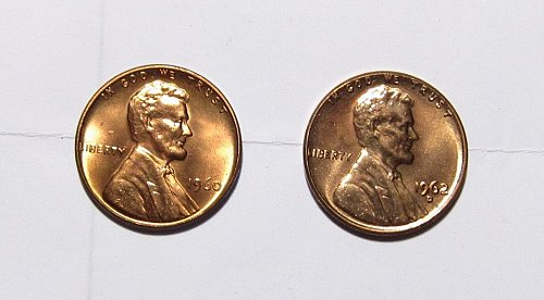 1960 P & 1962 D LINCOLN CENTS FROM OBW UNCIRCULATED