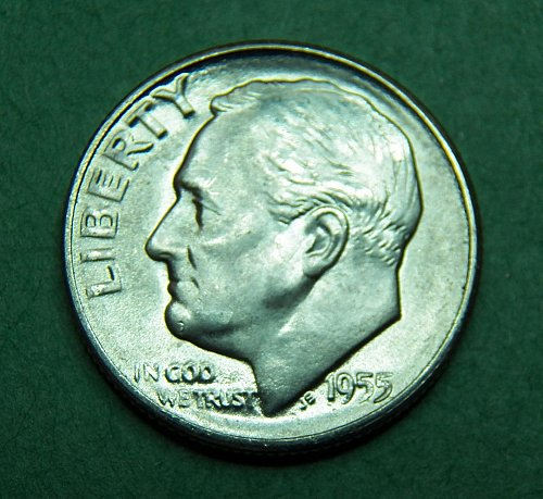 1955 S Roosevelt Dime Brilliant Uncirculated Coin   g77