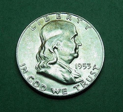 1953 D Franklin Half Dollar Brilliant Uncirculated Coin  g68