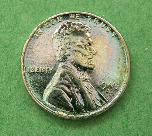 1943 D Steel Lincoln Cent Rose and Blue Toning   g92