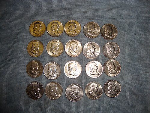 FRANKLIN HALF DOLLAR 20 COIN ROLL MIX DATE AND MINT MARK'S