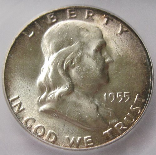 1955 P Franklin Half - Bugs Bunny - Error Coin - MS60 Details - ICG - Scratch