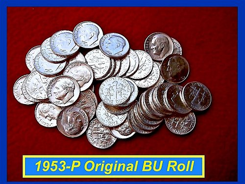 """BU"" 1953-P Silver Dime Roll of 50 Lustrous Beauties (#3102)"