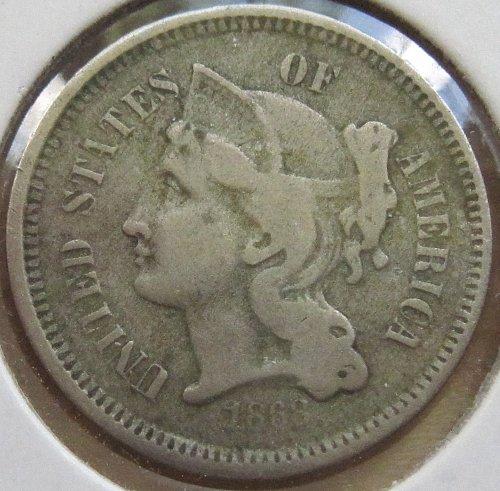 1868 3 Cent Nickel - VG