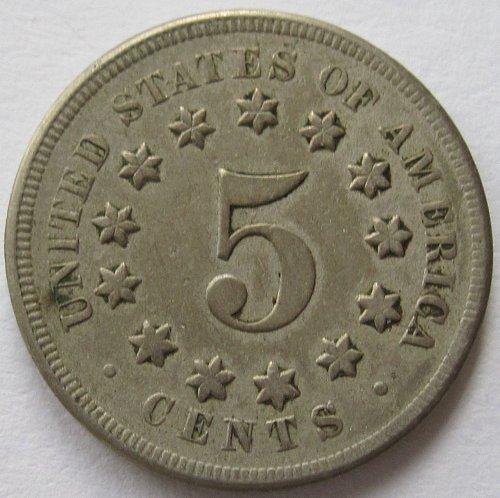 1868 P Shield Nickel - VF+