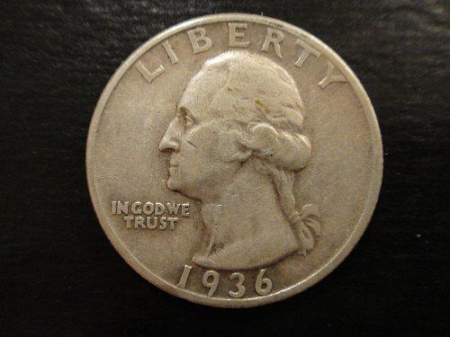 1936-D Washington Quarter Extra Fine-40 Nice Light Silver Patina!