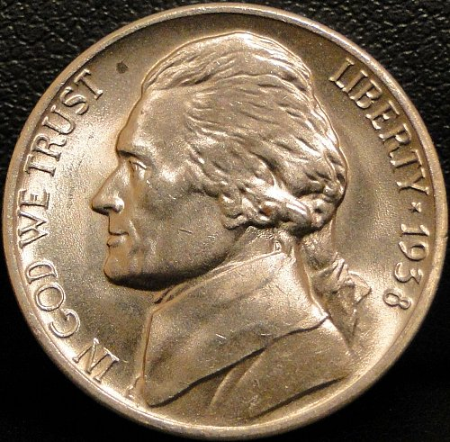 Nice Grade 1938-D Jefferson Nickel (Spot on obverse)