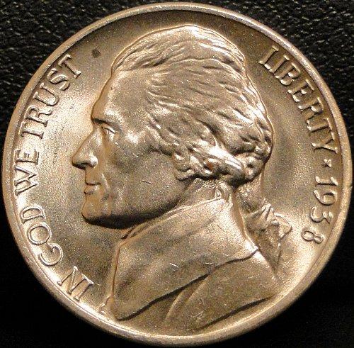 Nice Grade 1938-D Jefferson Nickel (Spot on obverse)