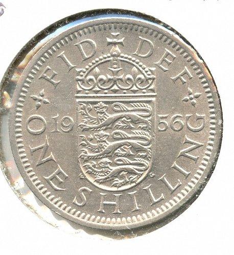 1956 English  Shilling BU Clad