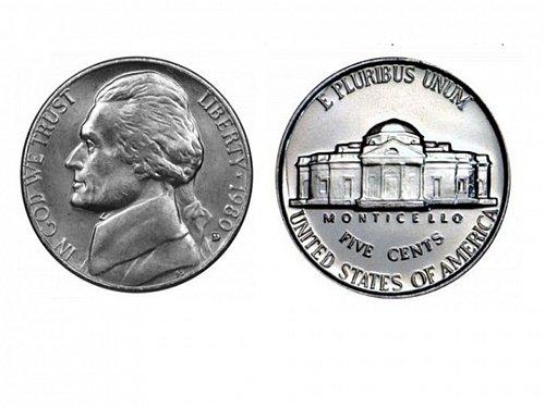 1980 D BU Jefferson Nickel