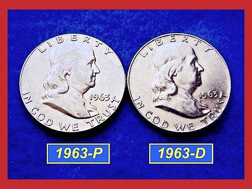 1963-P & 1963-D  Franklin Half Dollars ––– Circulated    (#1435)