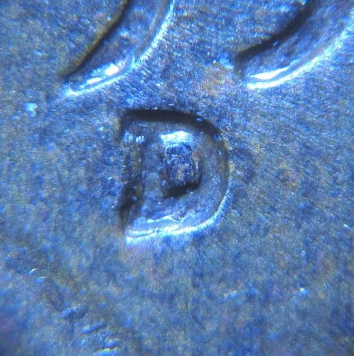 1953 D LINCOLN WHEAT CENT RPM 004  REPUNCHED MINT MARK
