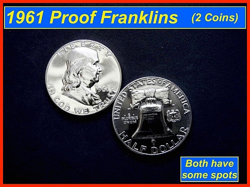 Two (2) 1961-PROOF  Franklin Half Dollars • • • (#1291a)