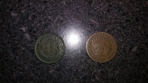 1883 and 1885 Indian head pennies