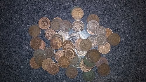 Complete roll of Indian head pennies