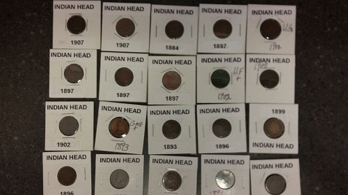 Lot of 20 beautiful Indian head pennies