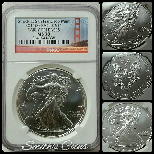 2011 (S) American Silver Eagle Bullion Coin ~ NGC MS 70 Early Release ~ Red Labe