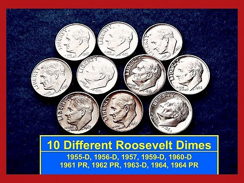 1955-1964 – LOT of 10 FDR Silver Dimes  – 10 Different UNC & PROOF (#3169)