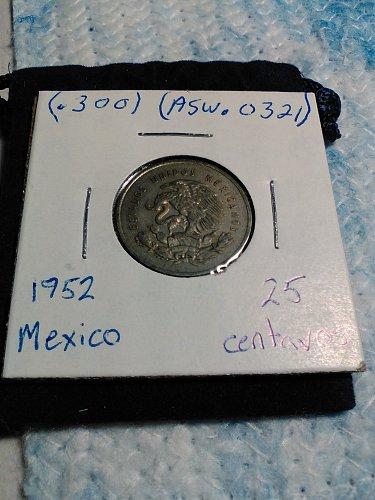 1952 MEXICO SILVER 25 CENTAVOS