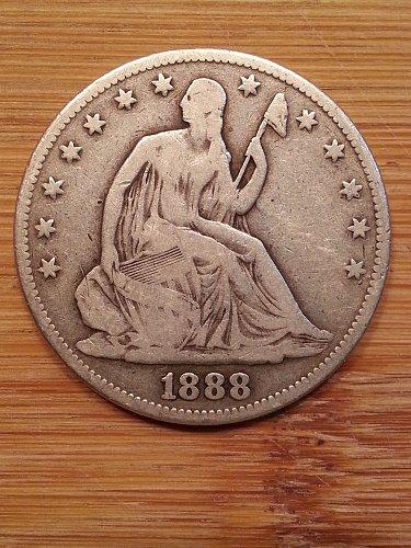 1888 Seated Liberty Half
