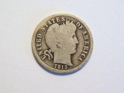 1913-P Vintage Silver Barber Dime