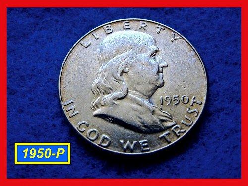 "1950-P  Franklin Half Dollar ––– ""XF"" Condition  (#1486)"