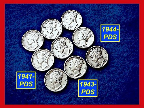 9 Coin LOT  ••• 1941-PDS, 1943-PDS & 1944-PDS  (#3167)