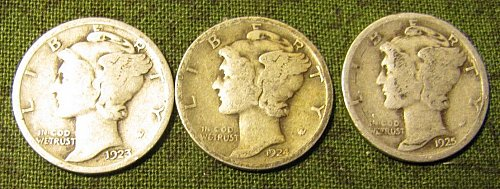 1923,24, & 25  mercury Dimes C-12 win 1st, get 11% off 2nd dime/s Won refunded