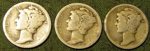 1918,1919-S, & 1920 Mercury Dimes  $1.25 each //BELOW any others price!!
