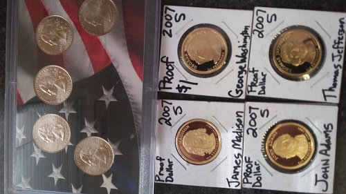 4 beautiful proof Dollar's 5 state Quarters