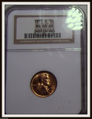 1955-S 1C Lincoln Wheat Cent (NGC MS66 RD)