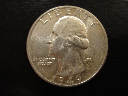 1949-D Washington Quarter Almost Uncirculated-55 Nice White Coin!